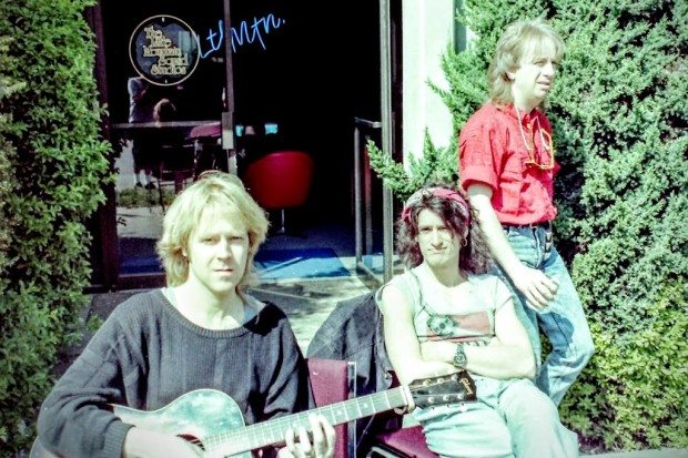 Tom Hamilton, Joe Perry & Brad Whitford of Aerosmith outside Little Mountain Sound recording studios in Vancouver, 1987