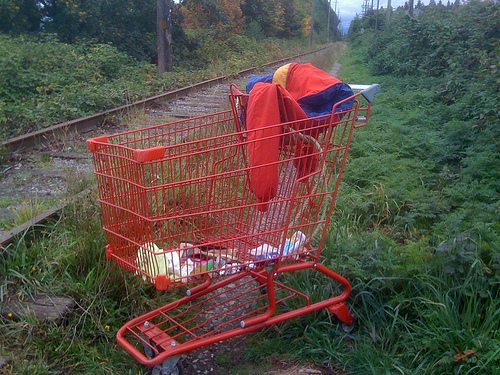 Arbutus Line red abandoned shopping cart