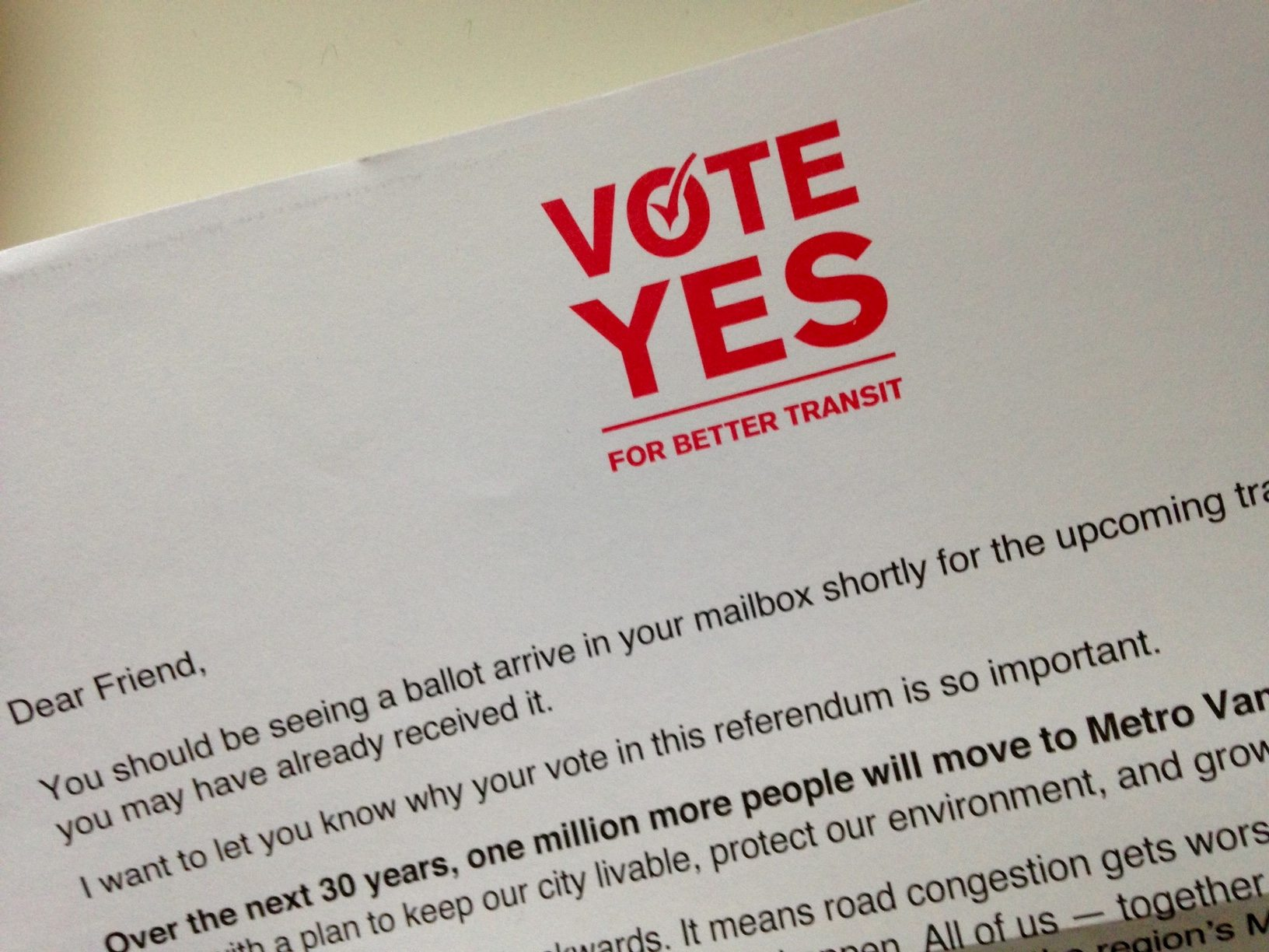 Yes Campaign letter